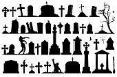 Gravestones and tombstones cemetery set. Vector creepy cemetery.