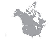 Vector illustration of a Grey Map of Canada and USA