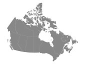 Vector illustration of a Gray Map of Canada With Provinces