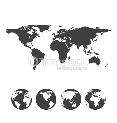 Gray map of the world with globe icons vector art thinkstock gray map of the world with globe icons vector art gumiabroncs Image collections