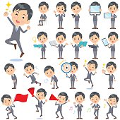 Set of various poses of Gray Suit Businessman 2