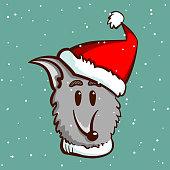 Happy dog in santas hat on snowy background. Vector illustration