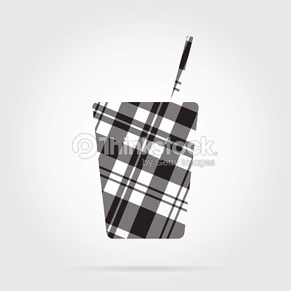 Grayscale tartan icon - fast food drink with straw