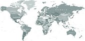 Highly detailed gray vector illustration of world map.