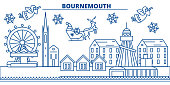 Great Britain, Bournemouth winter city skyline. Merry Christmas, Happy New Year decorated banner with Santa Claus.Winter greeting line card.Flat, outline vector. Linear christmas snow illustration