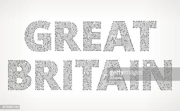 Great Britain Circuit Board Vector Buttons
