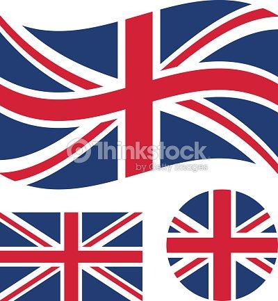 great britain flag set rectangular waving and round circle union