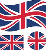 Great britain flag set. Rectangular, waving and round circle Union Jack flag. UK, british national symbol. Vector icons isolated on white background