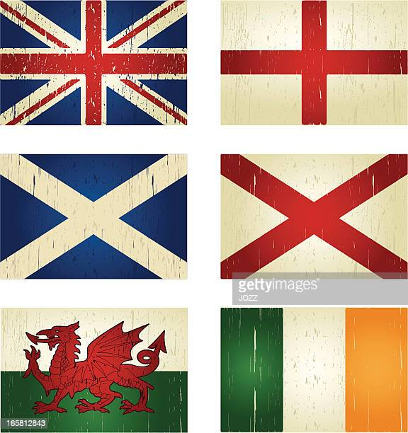 great britain grunge flags