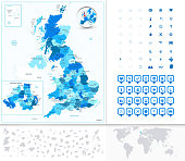 Great Britain Map with Navigation Icons. Large graphic vector set.