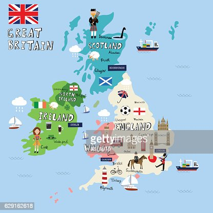Great Britain picture Map  vector illustration EPS10. : Vector Art