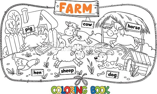 Great Coloring Book With Farm Animals Vector Art