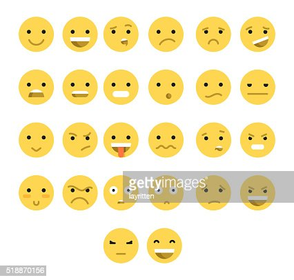 Great set of 26 yellow emotions insulated with transparent shadow. : stock vector
