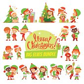 Great set of Christmas Santa elves in various poses and actions. Vector illustration isolated on white background