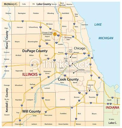 Greater Chicago Illinois Map stock vector - Thinkstock