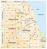 greater chicago, Illinois vector map