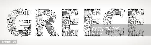 Greece Circuit Board Vector Buttons