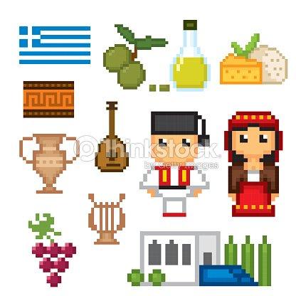 Greece Culture Symbols Icons Set Pixel Art Old School Computer