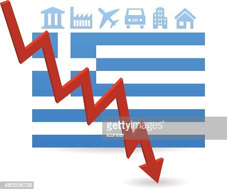 Greece flag symbolizing crisis on white background : Vector Art