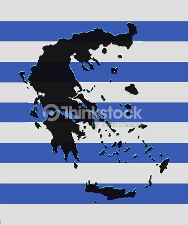 Greece Map Vector With The Greek Flag As Background Vector Art ...