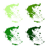 vector illustration of Greece maps