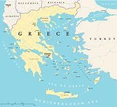 Political map of Greece with the capital Athens, national borders, most important cities, rivers and lakes. With english labeling and scale.