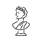 Ancient Greek bust sculpture with laurel wreath. Young man head in profile, classic statue logo or icon. Simple modern vector illustration.