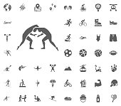 Greek Roma fight icon. Sport illustration vector set icons. Set of 48 sport icons