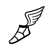 Ancient Greek sandal with wings. Simple black and white vector icon.