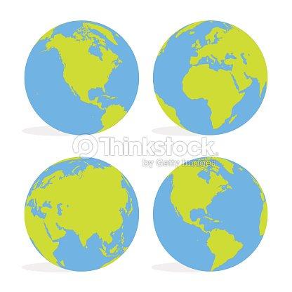 Mundo De Verde Y Azul De Dibujos Animados Mundo Mapa Conjunto
