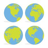 Green and blue cartoon world map globe set vector illustration.