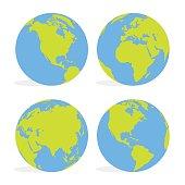Green and blue cartoon world map globe set vector illustration.