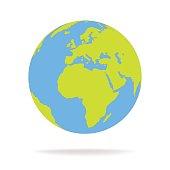 Green and blue cartoon world map globe vector illustration.