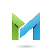 Vector Illustration of Green and Blue Folded Paper Letter M isolated on a White Background
