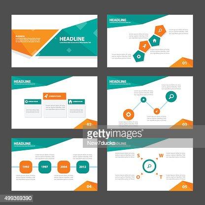 green and orange multipurpose presentation templates infographic, Presentation templates