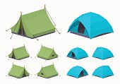 Camping tents. 3D lowpoly isometric vector illustration. The set of objects isolated against the white background and shown from different sides