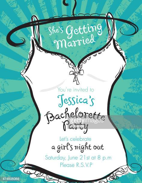 Green and white Elegant bachelorette party invitation design template