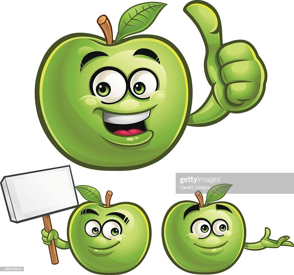 green apple cartoon set c vector art getty images