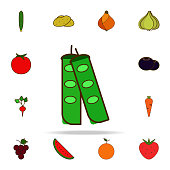 green beans colored icon. fruit icons universal set for web and mobile on white background