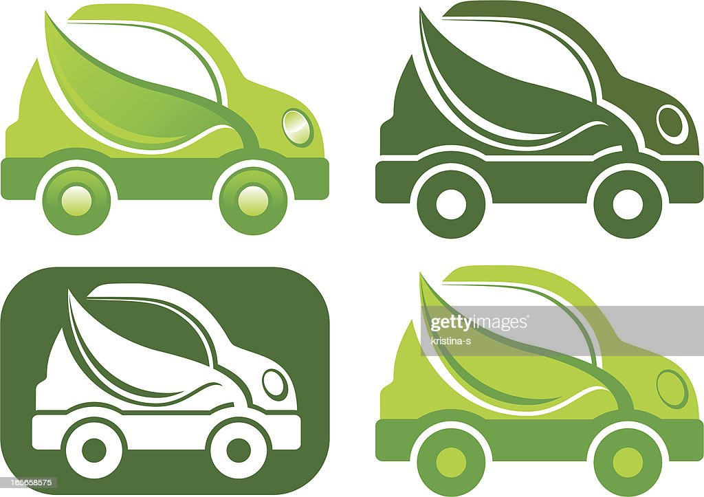 Green car icon : Vector Art