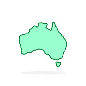 green cartoon thin line australia icon. stroke flat style trend modern graphic art design isolated on white background. concept of simple destination for trip or journey in lineart