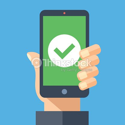 green check mark icon on smartphone screen hand holding smartphone