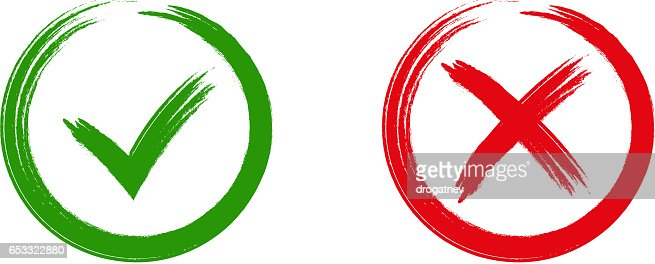 Ok赤い X のアイコンは緑色のチ...