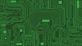 Vector Illustration of Green Circuit Board Background. Best for Computers, Technology, Abstract Backgrounds, Engineering, Electronics, Information Technology concept.