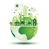green city with green Eco Earth concept ,vector illustration