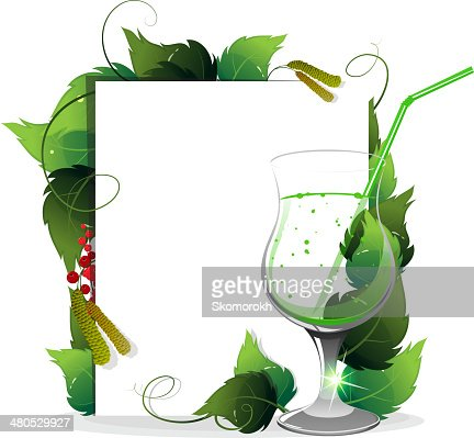 Green cocktail with leaves : Vectorkunst