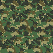 Green color abstract camouflage seamless pattern background. Modern military style camo art design backdrop. Vector illustration.
