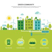 Colorful vector illustration of sustainable environment-friendly community concept in modern flat design. Easy to edit, elements are grouped, no effects.