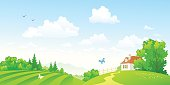 Vector illustration of beautiful green countryside panorama. RGB colors.