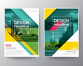 Green diagonal line Brochure annual report cover Flyer Poster design Layout vector template in A4 size